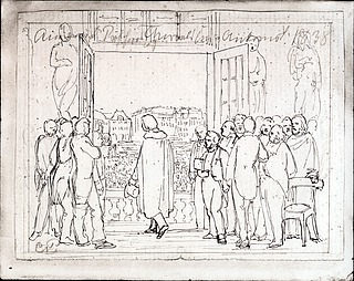 C.C. Peters: Bertel Thorvaldsen på Charlottenborgs balkon, 1838, ukendt opholdssted