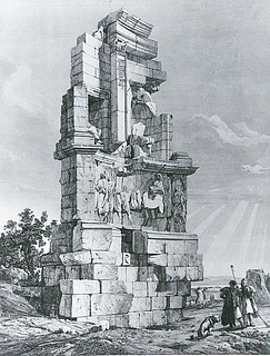Andrea Gasparini: Philopappos Monumentet, 1843 - Copyright tilhører Benaki Museet, Athen