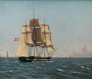 Korvetten Najaden, som i Sundet venter fregatten Bellona.