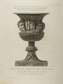 Vaso antico di marmo ( Antik vase. Relief med maskerne de fire livsaldre )