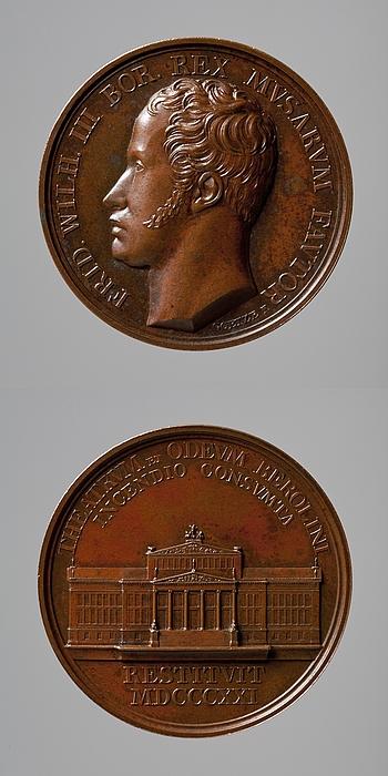 Medalje forside: Friedrich Wilhelm 3. af Preussen. Medalje bagside: Det Kongelige Skuespilhus i Berlin