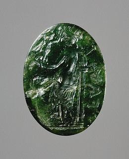 Venus Victrix med hjelm, spyd, skjold og Nike. Hellenistisk-romersk ringsten
