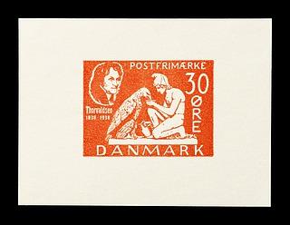 Prøvetryk af udkast til et dansk frimærke med Thorvaldsens Ganymedes med Jupiters ørn