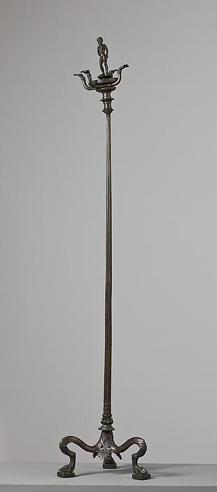 Kandelaber med statuette af en atlet. Etruskisk
