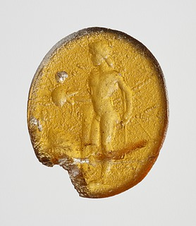 Kriger med spyd og skjold. Romersk republikansk paste