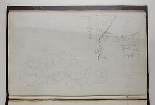 Korintisk kapitæl og en profil, opmåling. Liggende figurer