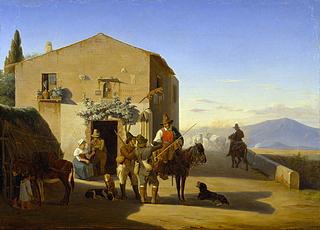 Romerske landfolk uden for osteriet ved Ponte Mammolo