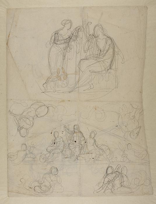 Jupiter, Minerva og Nemesis til Råd- og Domhusets fronton, senere bestemt til Christiansborg Slot