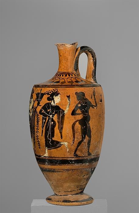 Lekyth med Dionysos mellem silener og mænader. Græsk