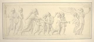 Fredens gudinde fulgt af Satrappen Mazæus ledsaget af sine fem sønner og to våbendragere