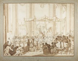 Leo 12. båret i Kristi Legemsfest procession igennem kolonaden på Peterspladsen