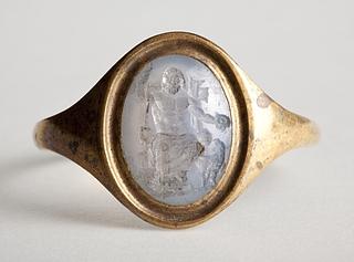 Zeus tronende med scepter og ørn. Hellenistisk-romersk ringsten