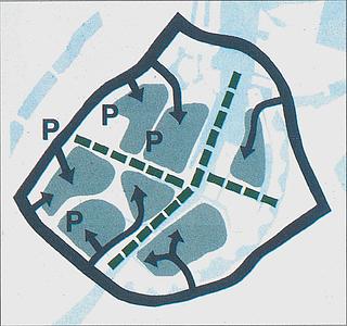 Opdeling af Indre By i Trafikzoner samt P-anlæg. 1997
