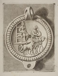 Lampe dekoreret med en Attis-figur siddende med en rørfløjte på en vogn med vædderforspand