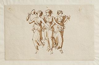 Tre dansende bacchanter