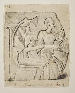 To siddende ægyptiske figurer