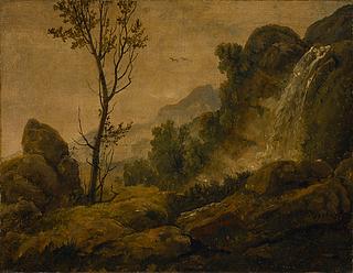 Italiensk landskab med vandfald