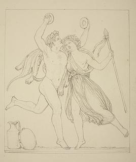 Satyr danser med en Bacchantinde