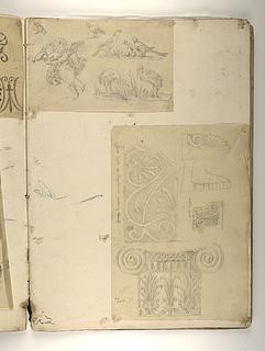 Amorin og fugle. Ornamenter og kapitæl