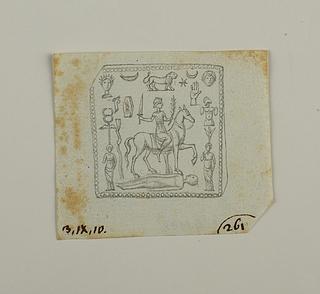 Ridende gudefigur, figurer, dyr og symboler