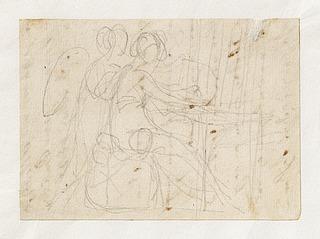 Vævende kvinde med en engel