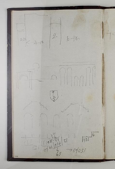 Trappekonstruktioner, opmåling og beregninger. Colosseum (?), tværsnit