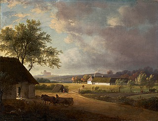 Jens Juel: Landskab med bortdragende uvejr. Søgård ved Gentofte Sø, 1790erne