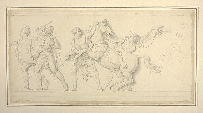 Alexander den Stores våbendragere efterfulgt af Bucephalus