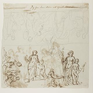 Thetis dypper Achilleus i floden Styx. Flodguder. Bacchus og satyr. Monument over Johann Philipp Bethmann-Hollweg