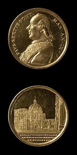 Medalje forside: Pius 6. Medalje bagside: Peterskirken og Vatikanet