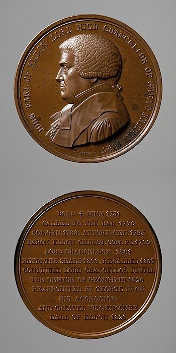 Medalje forside: John Scott 1. jarl af Eldon. Medalje bagside: Indskrift