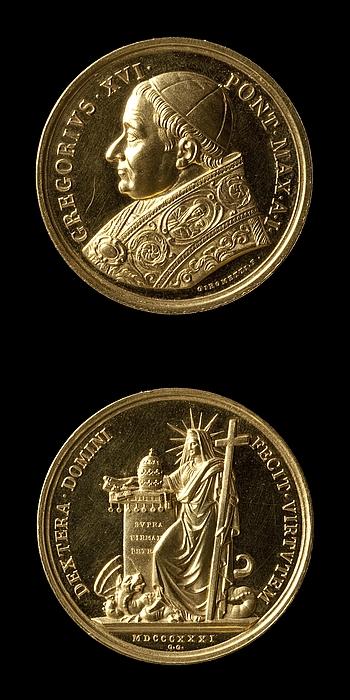 Medalje forside: Pave Gregor 16. Medalje bagside: Religionen