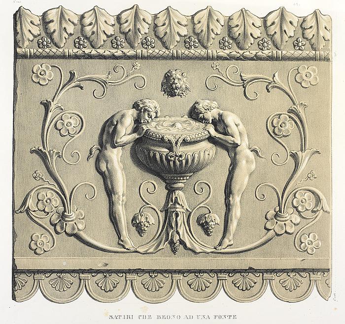 Satiri che beono ad una fonte, efter Giovanni Pietro Campana: Antiche opere in plastica, Rom, 1842, planche XLII