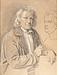 J.V. Gertner: Thorvaldsen ved Oehlenschlägers buste, deponeret af Glyptoteket i Bakkehusmuseet