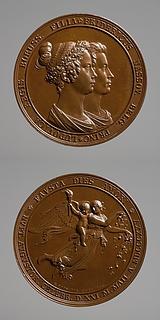 Medalje forside: Prins Frederik af Nederlandenes og prinsesse Louises bryllup. Medalje bagside: Dagen