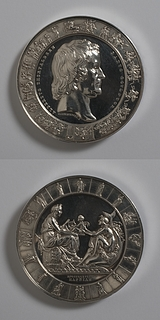 Thorvaldsen Medaljen forside: Portr?t af Thorvaldsen. Medaljens bagside: Galathea overr?kker Danmark Thorvaldsens  Amor med lyren