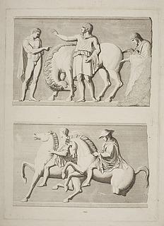 Tre mænd ved en hest. Ryttere