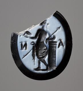 Venus Victrix med hjelm og spyd. Hellenistisk-romersk ringsten