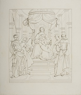 Maria tronende med Kristusbarnet omgivet af Sankt Georg og tre andre helgener