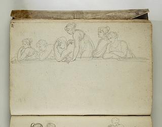 Seks figurer ser ud over en mur