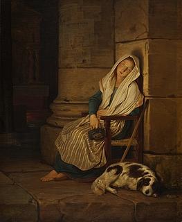 En sovende tiggerpige ved indgangen til en romersk kirke