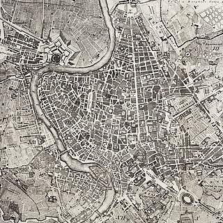 Pietro Ruga, Pianta topografica della città di Roma dell'anno 1820, tavle 467, in: Amato Pietro Frutaz (ed.), Le Piante di Roma, Rom 1962, Thorvaldsens Museums Bibliotek, inv.nr. 3036.
