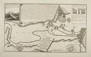 Topografisk kort over vandregulering af floden og søen Velino ved Terani