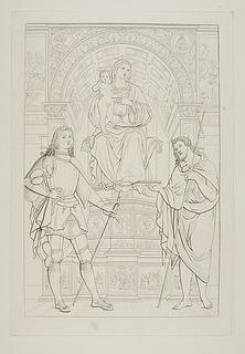 Maria med barnet på en trone med Sankt Georg og en helgen