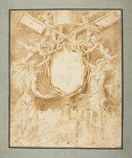 To figurer med et paveligt skjold, Roms skjold og familien Lambertinis våben