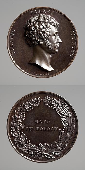 Medalje forside: Pelagio Palagi. Medalje bagside: Inskription og en krans af egegren og laurbærgren