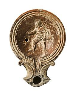 Lampe med en gladiator. Romersk