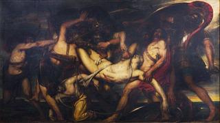 Antoine Wiertz: Les Grecs et les Troyens se disputant le corps de Patrocle, 1836, huile sur toile, 395 x 703 cm, Musée de Beaux-Arts, Liège