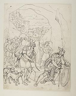 Fingal finder Cuthullin i grotten og trøster ham, Fingal 6. bog