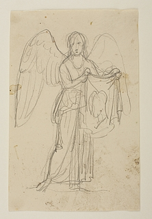 Engel med klæde med to profilportrætter til ubekendt gravmæle